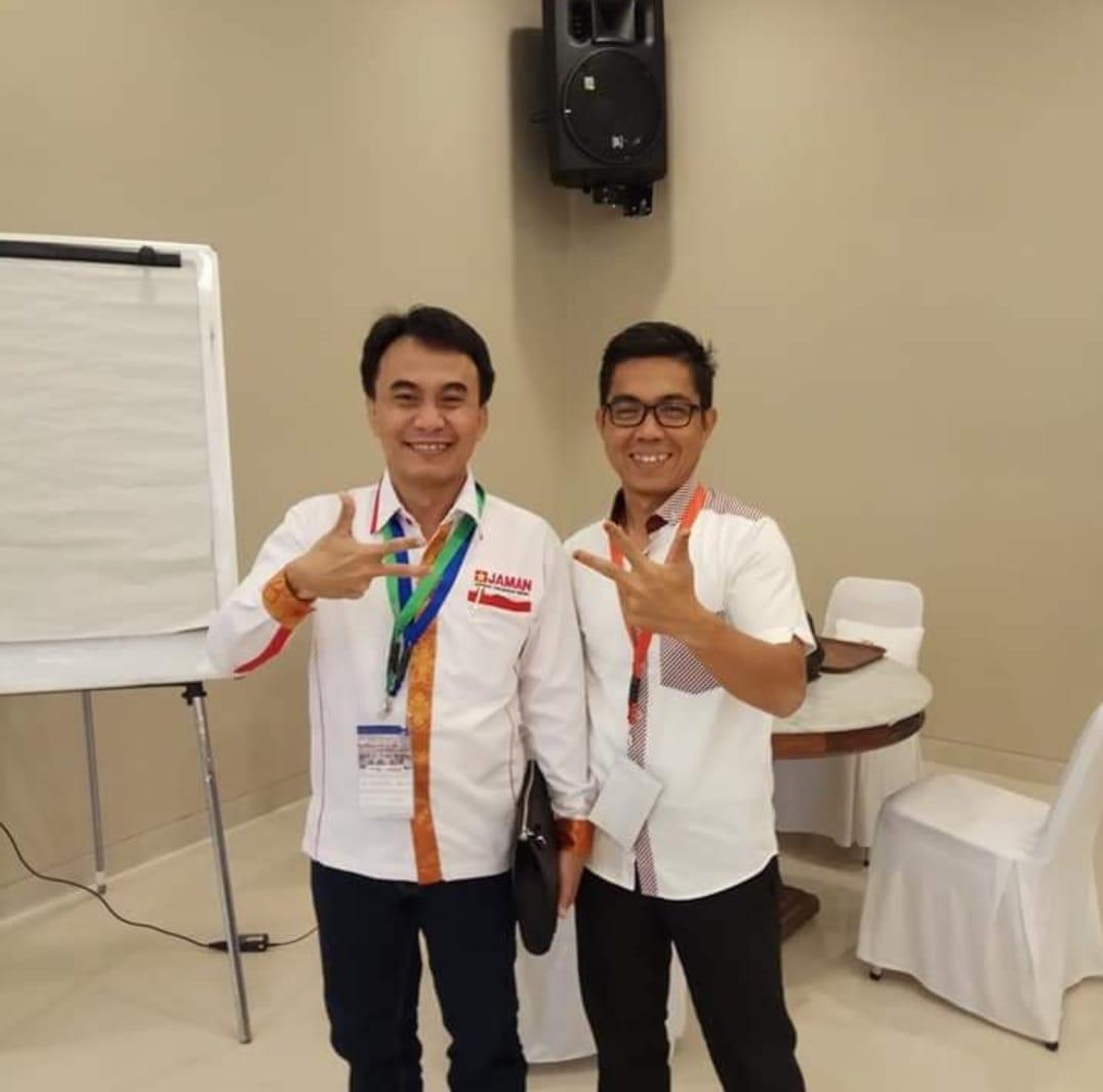 Ketua Umum DPP JAMAN, A Iwan Dwi Laksono (IDL)  bersama Edward Rais ketua Jaman Sumsel. (Poto/Ist)