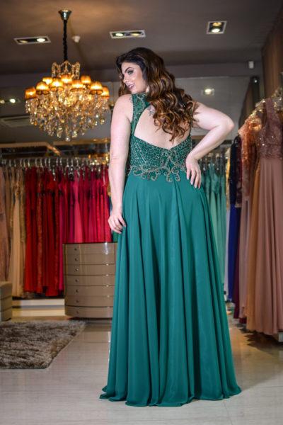 vestido de festa plus size verde