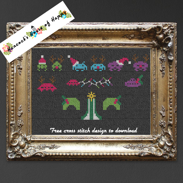Free Space Invaders Gamer Themed Christmas Cross Stitch Design, Free Space Invaders Gamer Themed Christmas Cross Stitch Design