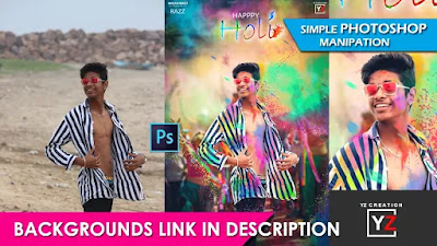 photoshop manipulation tutorial | holi poster design | easy by | PicsArt | Yzcreation 2020