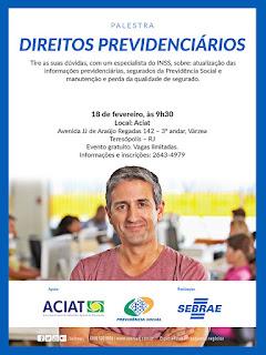Convite SEBRAE Teresópolis - Palestra Direitos Previdênciários com INSS - 18/02/2016