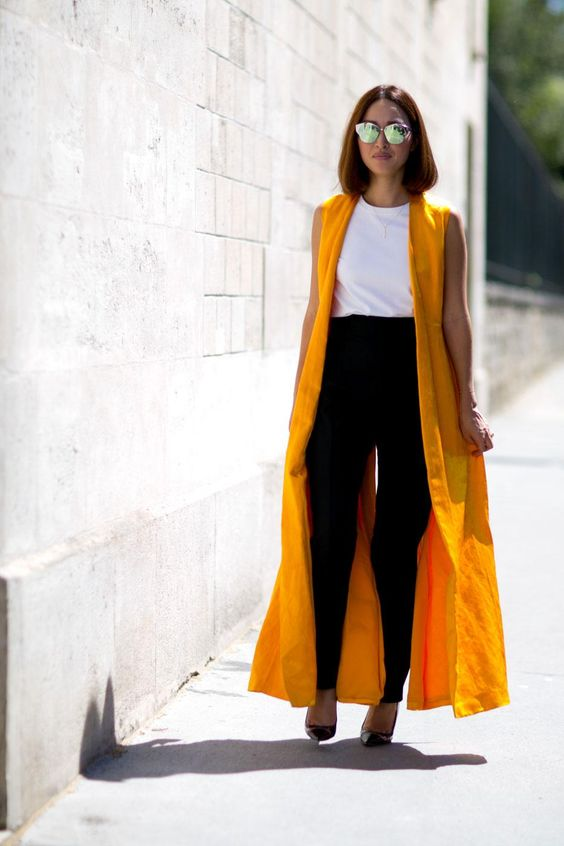 Nicole Warne - Yellow Sleeveless Duster + White Tank