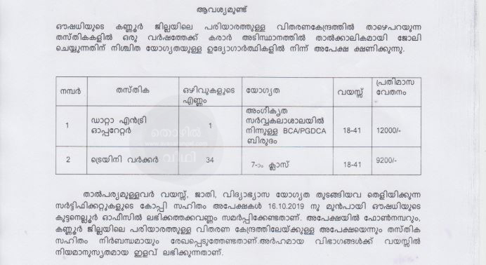 OUSHADHI RECRUITMENT 2019 - 63 vacancy.