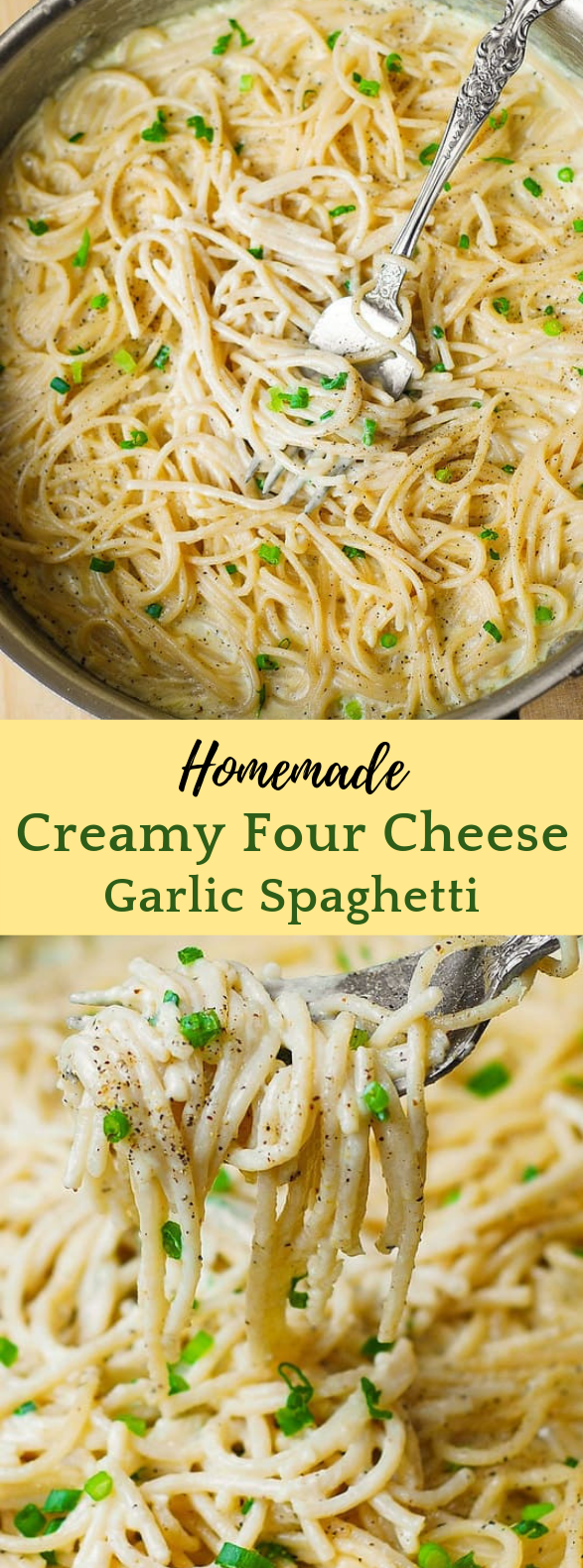 FOUR CHEESE GARLIC WHITE CREAM PASTA SAUCE #Dinner #Pasta