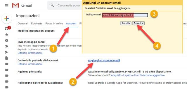 controllare la posta di outlook con gmail
