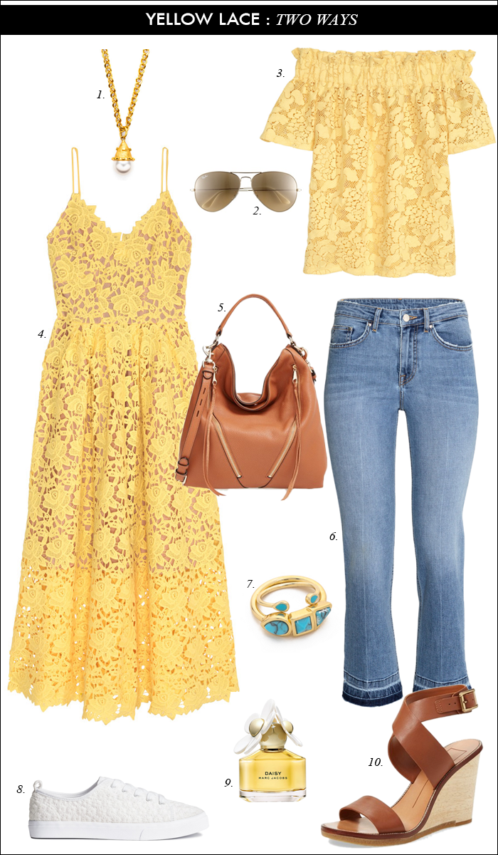 summer outift, lace dress, wedge sandals, how to wear flare jeans