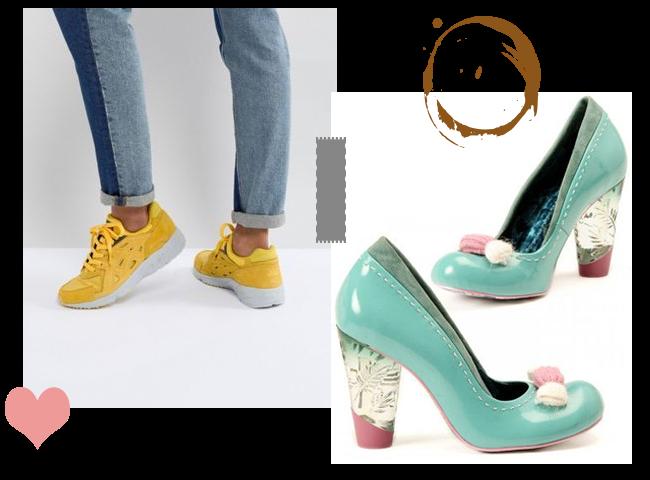 tenue simple avec chaussures originales et colorées