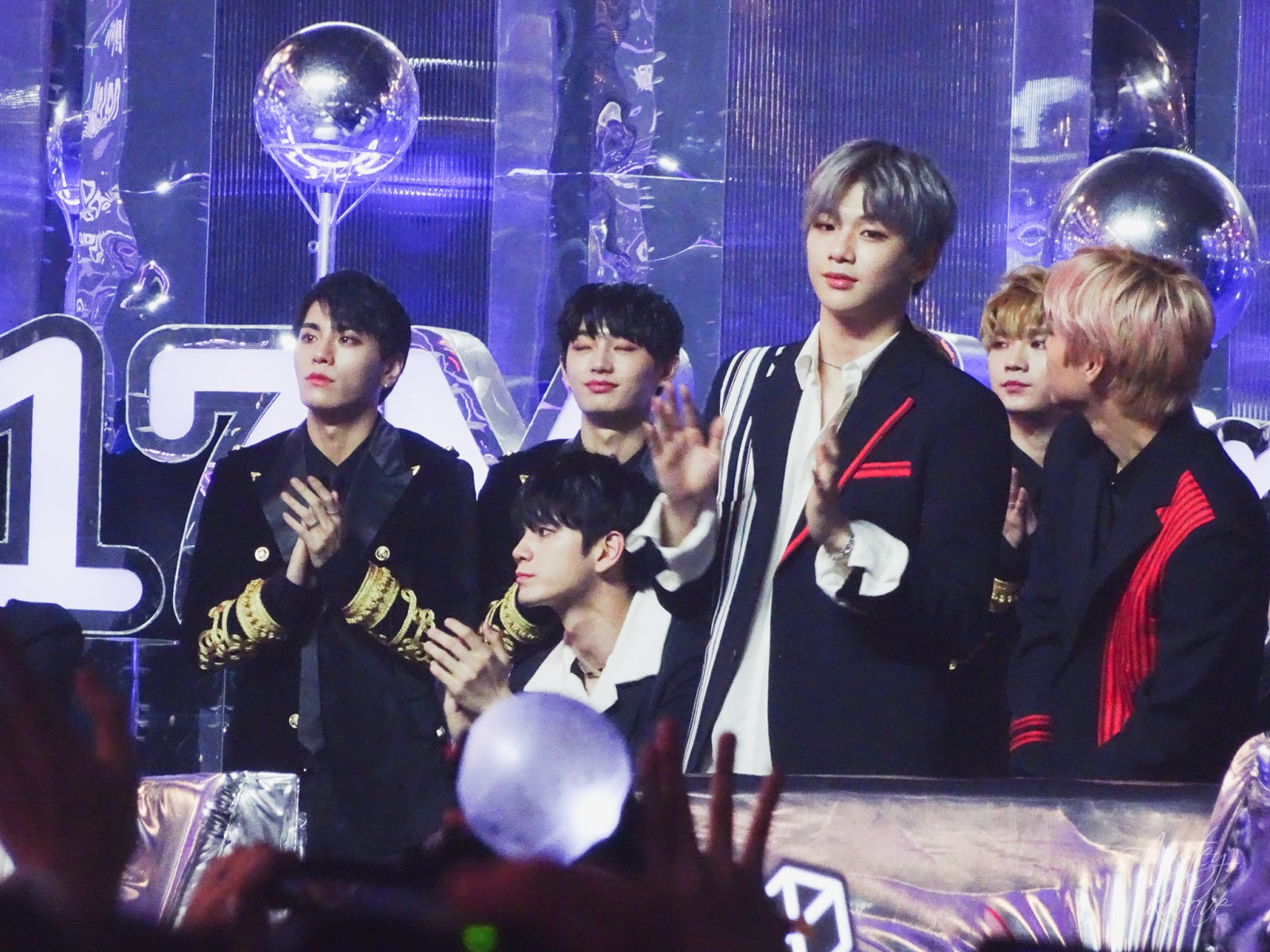 Famous Korean k-pop boy band Wannaone receiving award on stage at Melon Music Awards (MMA) 2017 in Seoul, South Korea