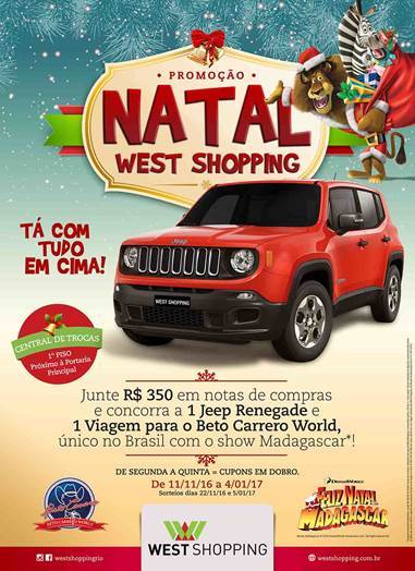 West Shopping premiará clientes com Jeep e viagem temática neste Natal