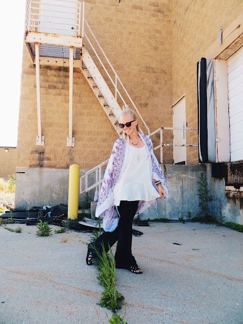 The Pinkwell mandala kimono, Serval Fashion white flared tank, Goldie's vegan suede bellbottoms, The Quarrier rainbow tourmaline necklace, Amy Waltz Designs crescent moon ring, giveaway, freebie friday, contest, sweepstakes