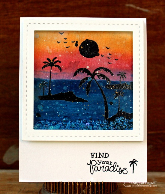 Palm Tree Sunset Card by Larissa Heskett | Paradise Palms stamp set by Newton's Nook Designs #newtonsnook