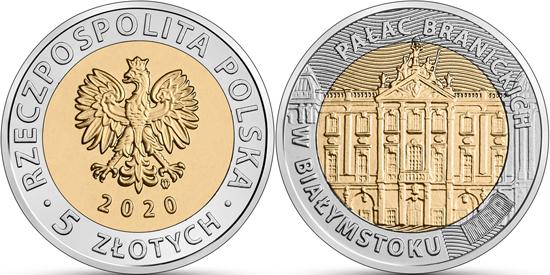 Poland 5 zlotys 2020 - Branicki Palace in Białystok