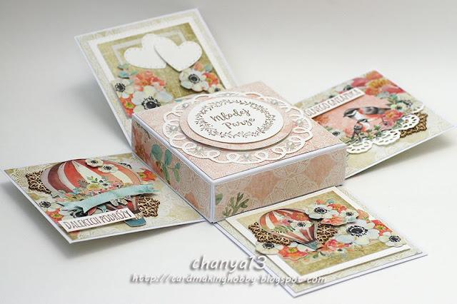 pięknie ozdobione pudełko dla Młodej Pary