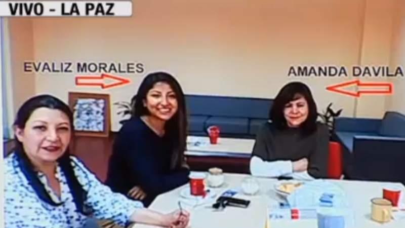 Morales y Dávila reunidas en oficinas de la editorial en El Alto / CAPTURA PANTALLA
