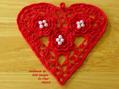 Bright Fiesta Red Irish Crochet Heart