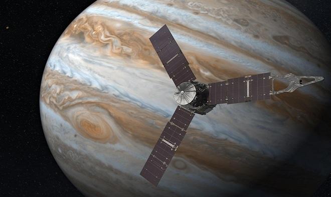 Tàu thăm dò Juno trị giá một tỷ USD của NASA di chuyển quãng đường dài 2,8 tỷ km từ bệ phóng ở Trạm không quân Mũi Canaveral, Mỹ, vào ngày 5/8/2011 để bay tới sao Mộc hôm 4/7/2016