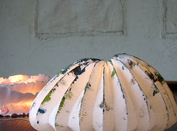 Lampade fatte a mano in carta crespa , forme marine