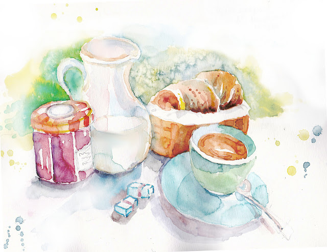 Coffee-France-Breakfast-Watercolor