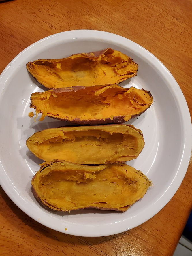 these are cooked sweet potatoes jackets without the filling in them yet