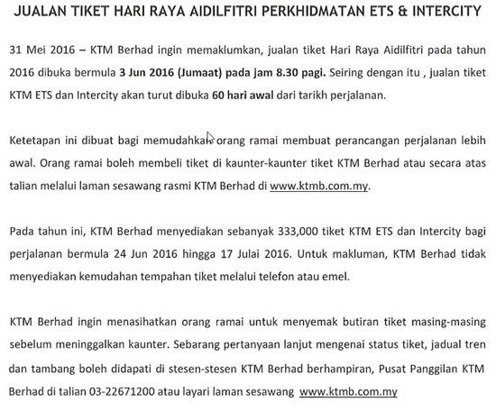 Jualan Tiket ETS Intercity Sempena Raya Aidilfitri 2016