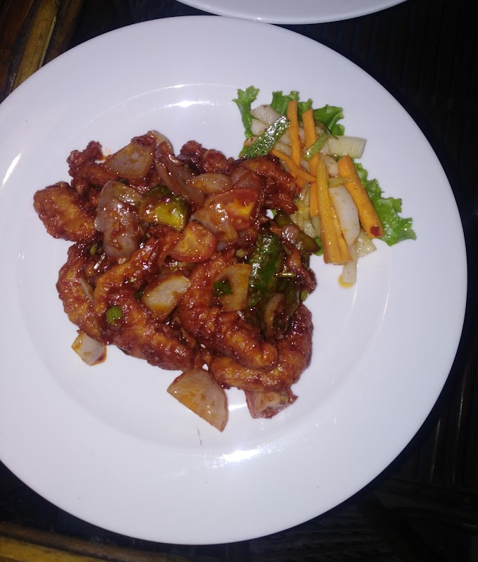 Fried chill prawns