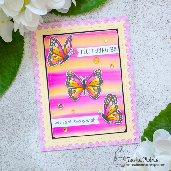 Butterfly Card by Zsofia Molnar  | Monarchs Stamp Set,  Frames & Flags Die Set and Framework Die Set by Newton's Nook Designs #newtonsnook #handmade