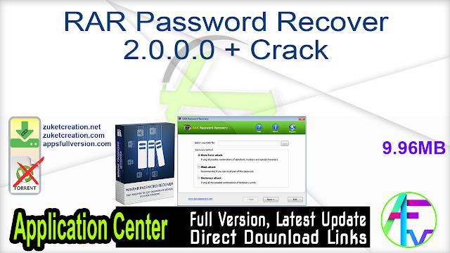 RAR Password Recover 2.0.0.0 + Crack