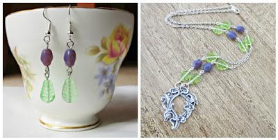 vineyard inspired jewellery necklace earrings purple green two cheeky monkeys beaded jewelry sets