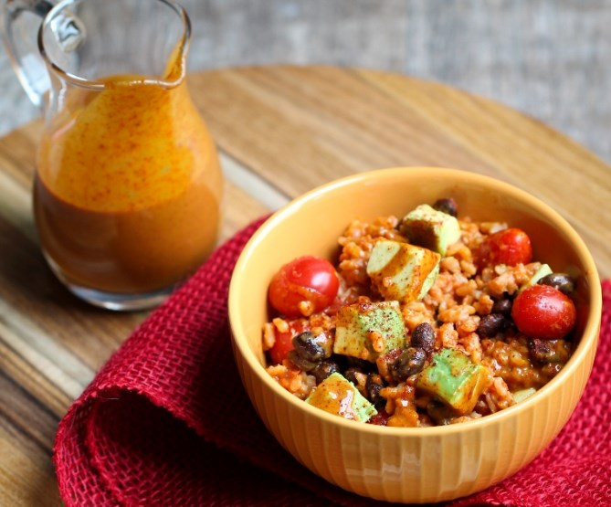 Rice, Black Bean and Avocado Bowl with Fat-Free Sweet Chili Mustard Sauce #vegetarian #dinner