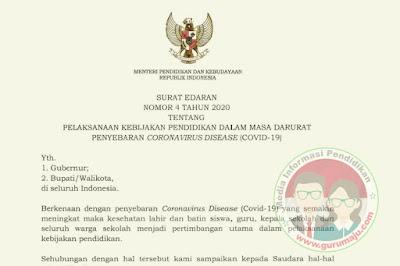 Surat Edaran Mendikbud Nomor 4 Tahun 2020