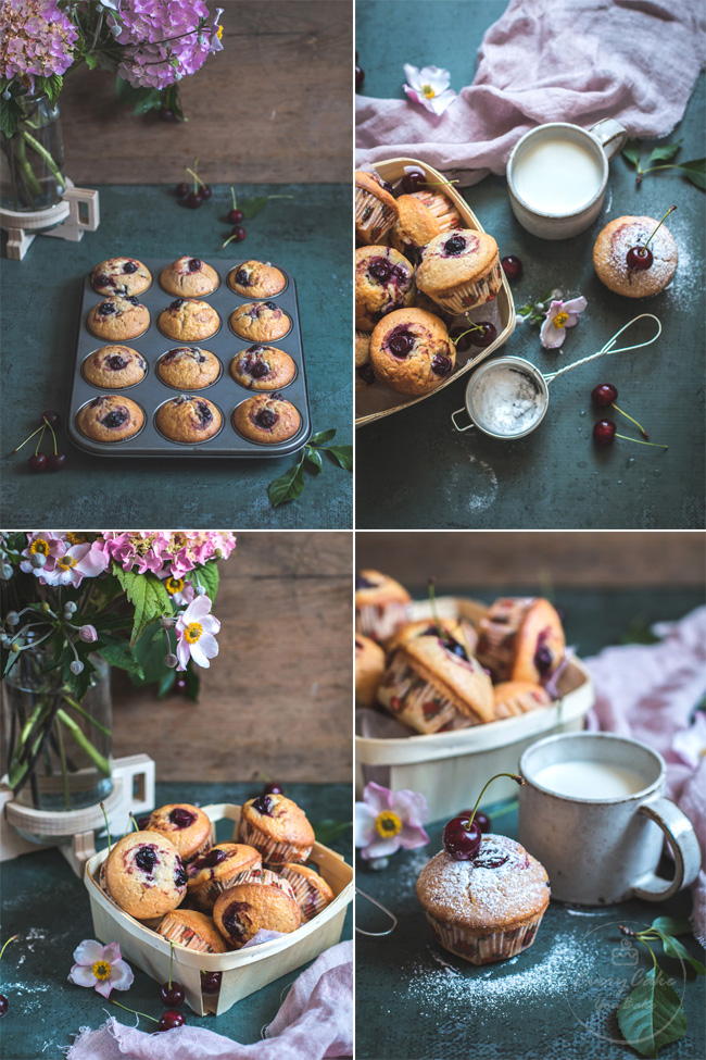 puszyste muffinki na kefirze z wiśniami