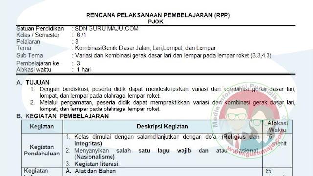 RPP PJOK 1 Lembar Semester 1 Kelas 6 SD K13 Revisi 2021