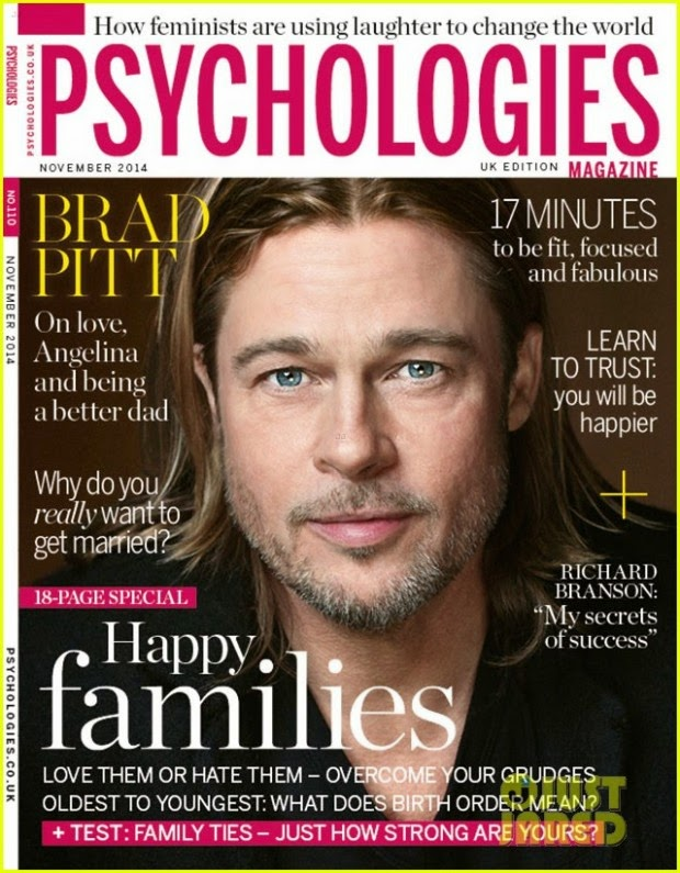 Brad Pitt on the cover of the magazine Psychologies