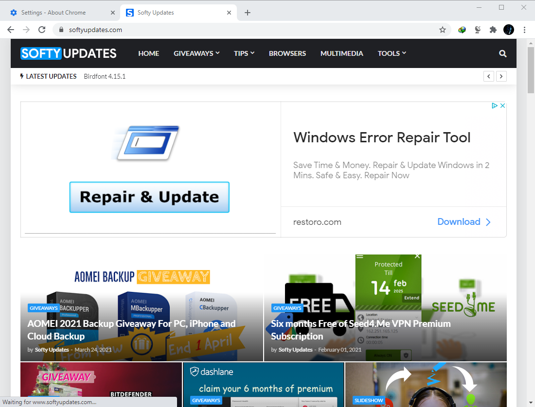 Google Chrome Browser 89.0.4389.128