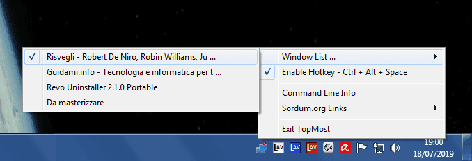 Window TopMost Control menu selezione programma da tenere sempre in primo piano