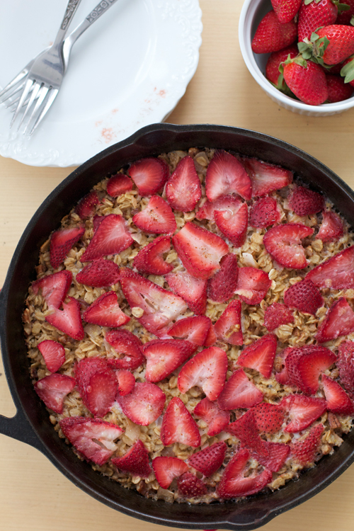 Baked Strawberries 'n' Cream Oatmeal || A Less Processed Life