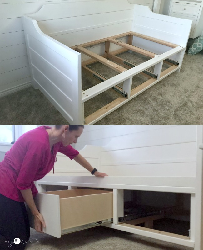 adding storage drawers to daybed