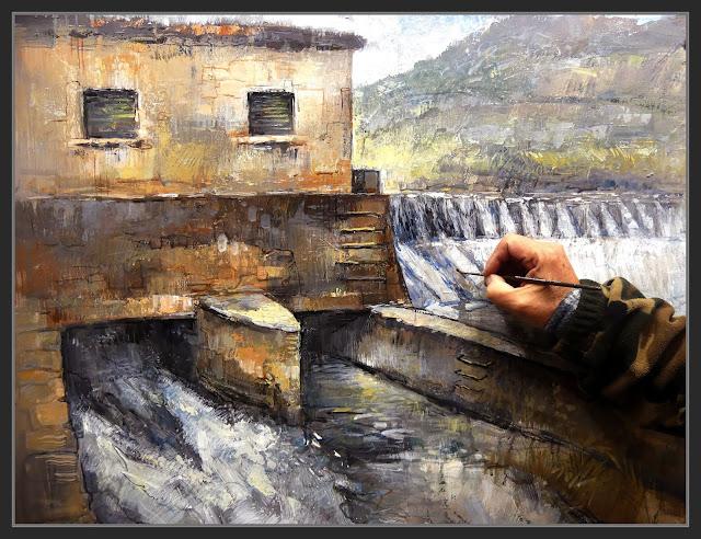 ALGEMESI-PINTURA-ART-RIU MAGRE-SALT D'AIGUA-SEQUIA-PAISATGES-VALENCIA-FOTOS-PINTANT-PINTURES-GRAN FORMAT-ARTISTA-PINTOR-ERNEST DESCALS