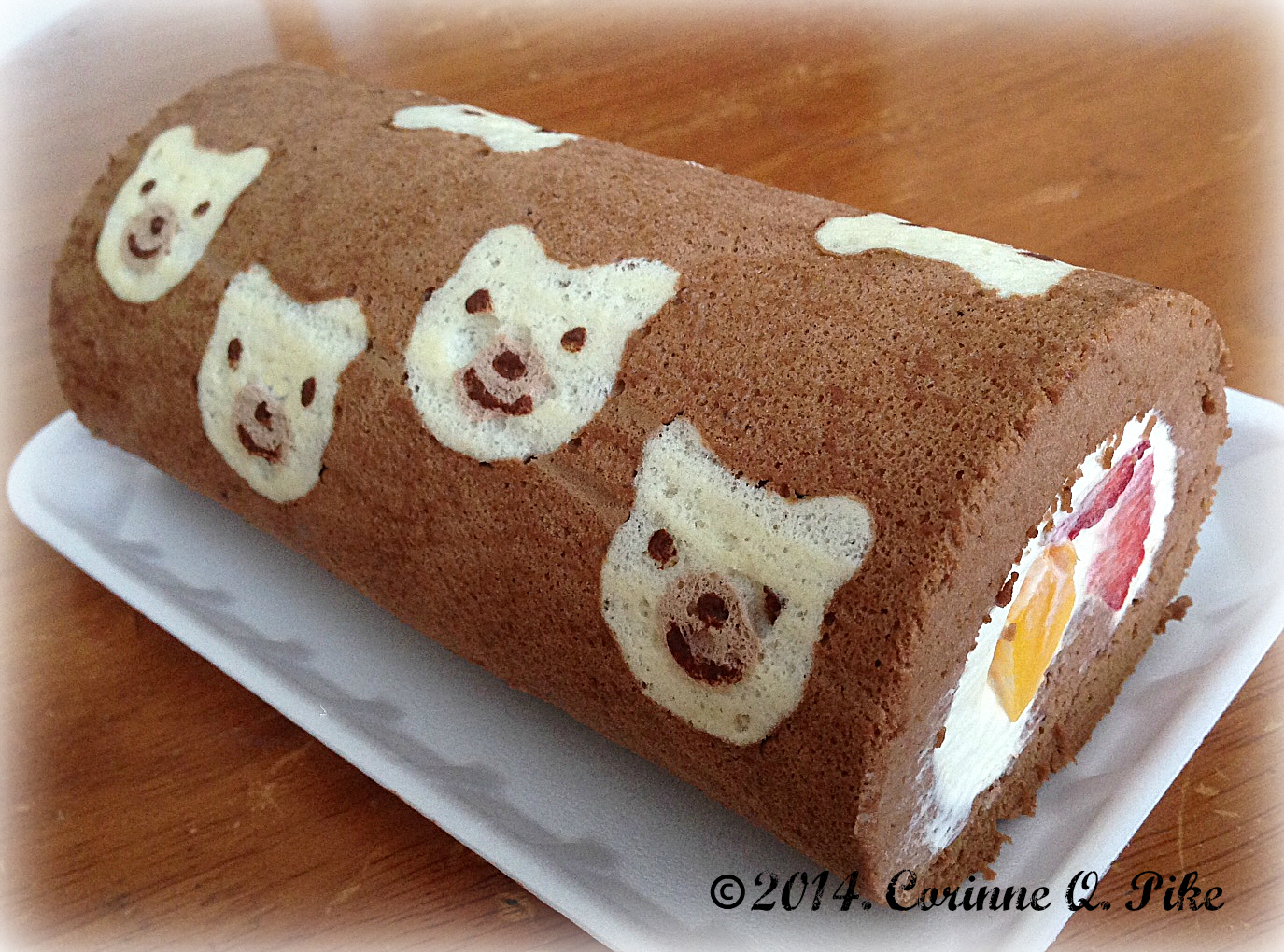 Teddy Bear Deco Roll Chocolate Flavoured Cake With Whipped Cream Mangoes And Strawberries