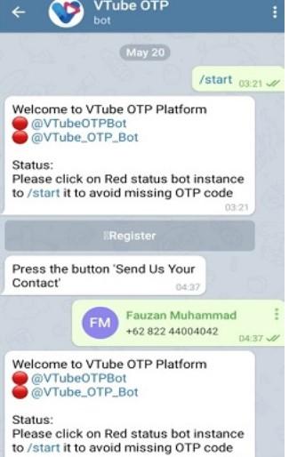Cara Mendapatkan Kode OTP Vtube di Telegram