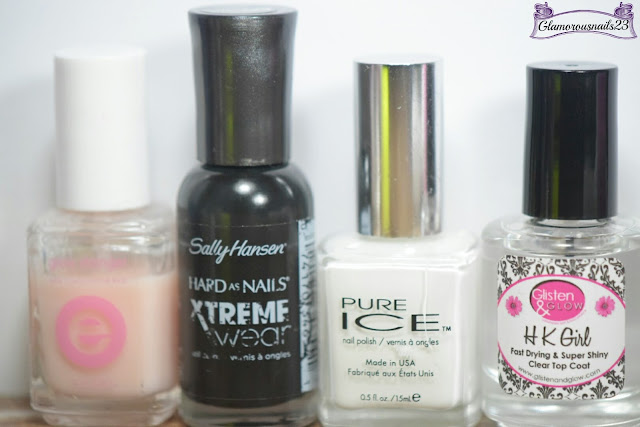 Essie Grow Stronger, Sally Hansen Xtreme Wear Black Out, Pure Ice Super Star, Glisten & Glow HK Girl Fast Drying Top Coat