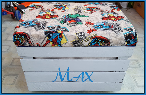 Apple Crate storage seat made for a superhero