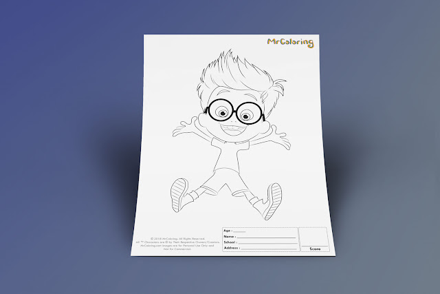 Free Printable Mr. Peabody & Sherman Coloriage Outline Blank Coloring Page pdf For Kids Kindergarten Preschool toddler coloring sheets 5