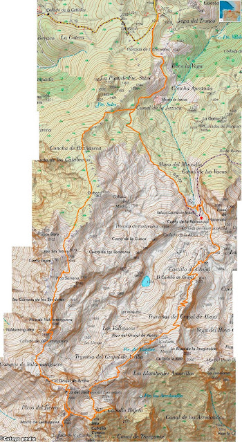 Mapa IGN de la ruta circular a la Morra de Lechugales y 8 dosmiles más del entorno del Andara.