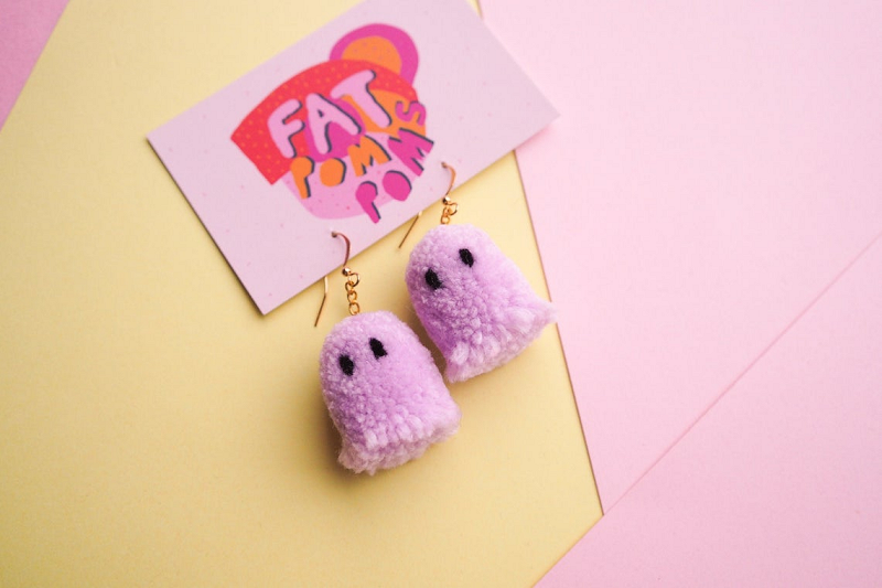 HeartStreet - FatPomPoms - Lilac Ghost Pom Earrings