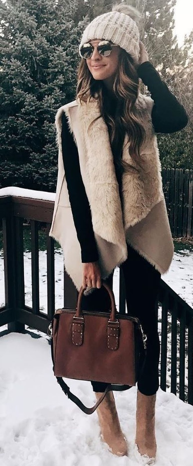 how to style a fur vest : hat + black sweater + bag + skinnies + boots
