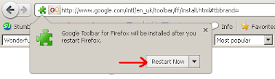 Google Toolbar for Firefox will be installed after your restart Firefox