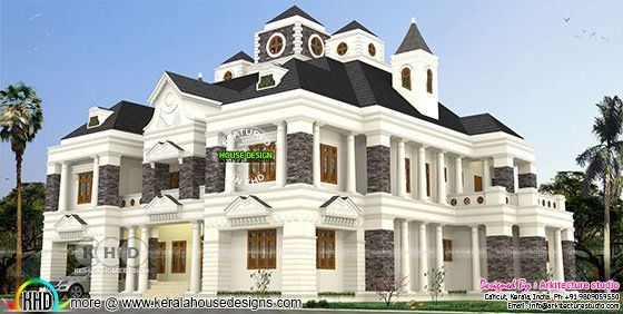 6600 sq-ft Colonial 5 BHK decorative residence