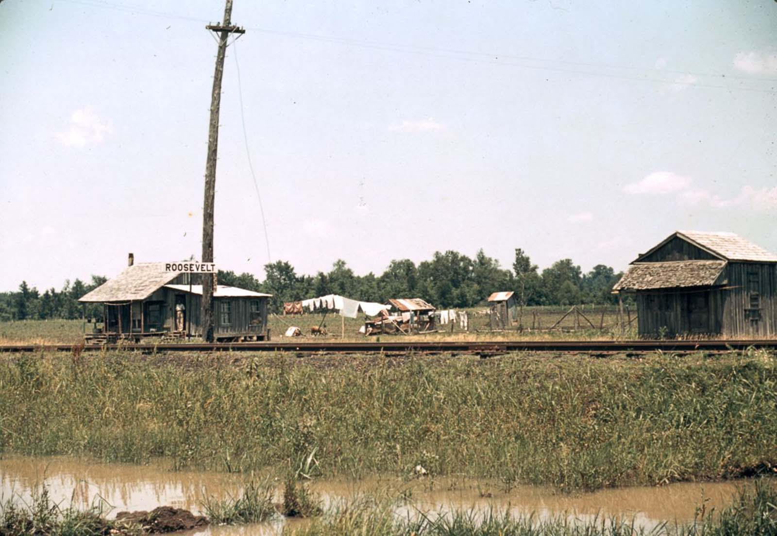 A railway station in Louisiana. 1940.