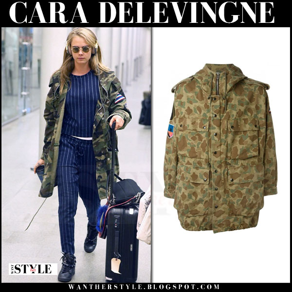 Cara Delevingne in camouflage parka saint laurent what she wore models off duty